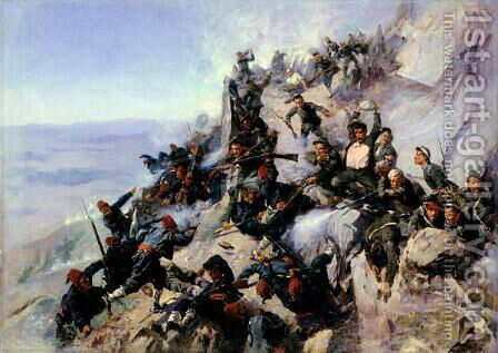 The Defence of the Eagle Aerie on the Shipka in 1877, 1893 by Andrei Nikolaevich Popov - Reproduction Oil Painting