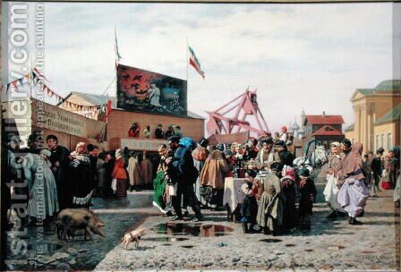 Stalls for Easter Week in Tula, 1868 by Andrei Andreevich Popov - Reproduction Oil Painting