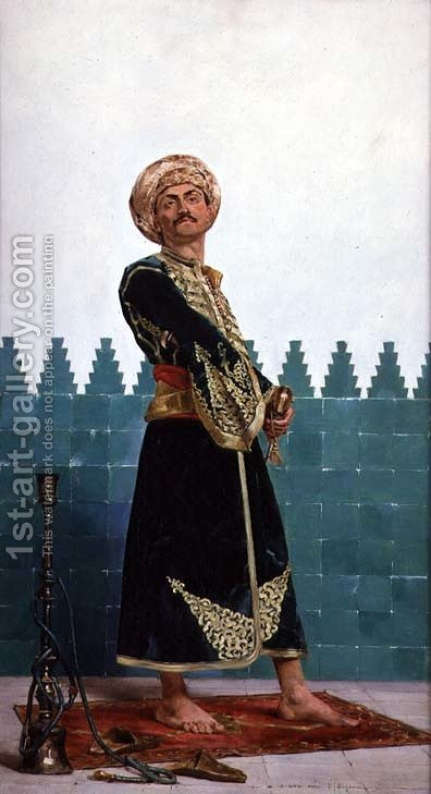 An Arab guard by Gustave Leon Antoine Marie Popelin - Reproduction Oil Painting
