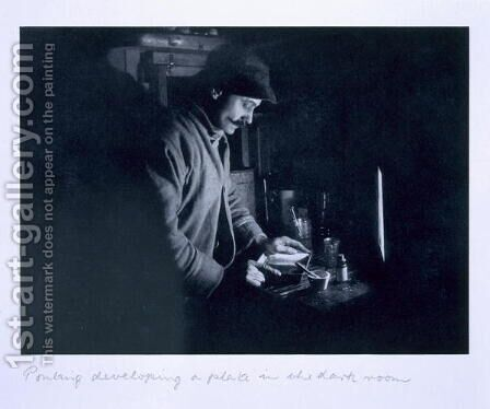 Ponting developing a plate in the dark room, from Scotts Last Expedition by Herbert Ponting - Reproduction Oil Painting