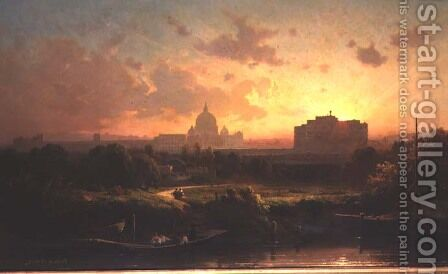 A view of Rome at sunset with St. Peters and the Castel S. Angelo by Antoine Ponthus-Cinier - Reproduction Oil Painting