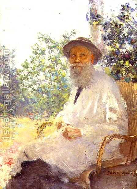 Portrait of Lev Nikolaevich Tolstoy 1828-1910 on the Terrace, 1905 by Ivan Pokitonov - Reproduction Oil Painting