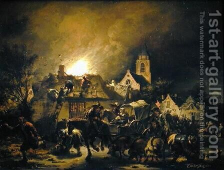 Fire in a village at night, 1655 by Egbert van der Poel - Reproduction Oil Painting