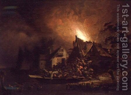 Villagers Struggling to put out a Cottage Fire by Adriaen Lievensz van der Poel - Reproduction Oil Painting
