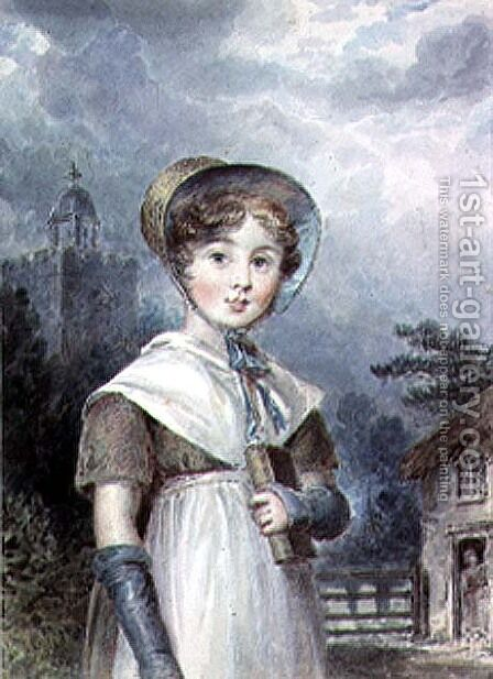 Little Girl in a Quaker Costume, holding a Bible by Isaac Pocock - Reproduction Oil Painting