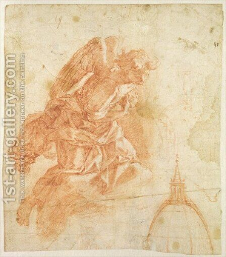 Suspended angel and architectural sketch, c.1600 by Bernardino Barbatelli Poccetti - Reproduction Oil Painting