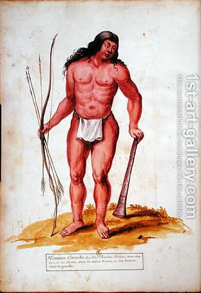 Native of the Caribbean with his weapons, from a manuscript on plants and civilization in the Antilles, c.1686 by Charles Plumier - Reproduction Oil Painting