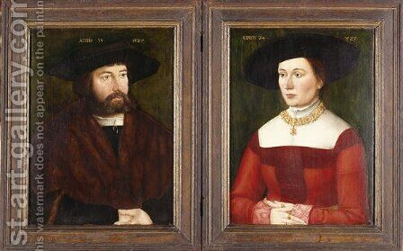Portrait Dyptych of Hans and Barbara Straub, 1525 by Hans Plattner - Reproduction Oil Painting