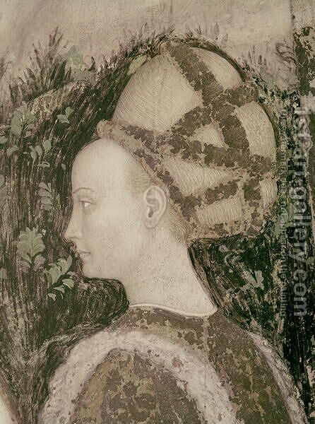 St. George and the Princess of Trebizond, detail of the head of the princess, c.1433-38 by Antonio Pisano (Pisanello) - Reproduction Oil Painting