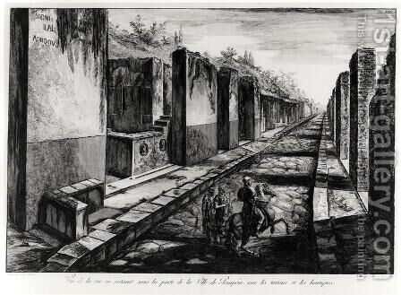 View of the Street of the Gateway of the city of Pompeii, from 'Antiquites de Pompeia' by G.B. Piranesi, engraved by Francesco Piranesi 1758-1810 1804 by Giovanni Battista Piranesi - Reproduction Oil Painting