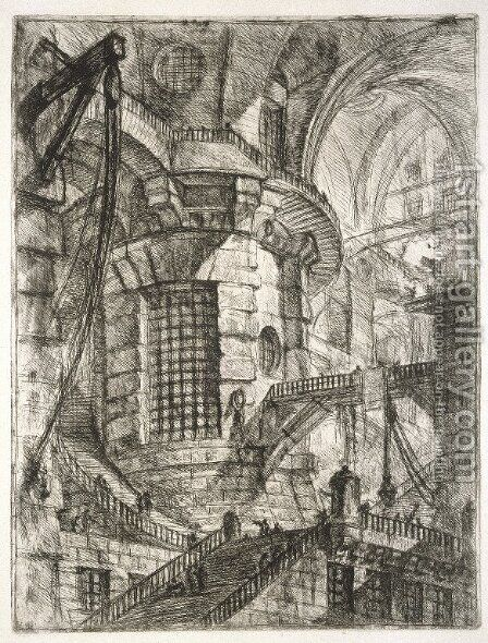 The Round Tower, plate III from Carceri dInvenzione, c.1749 by Giovanni Battista Piranesi - Reproduction Oil Painting