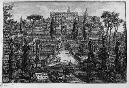 The Villa dEste at Tivoli by Giovanni Battista Piranesi - Reproduction Oil Painting
