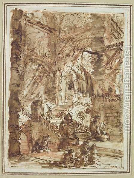 Preparatory drawing for plate number VIII of the Carceri alInvenzione series by Giovanni Battista Piranesi - Reproduction Oil Painting