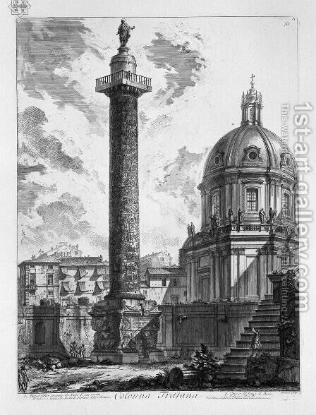 Trajans Column, Rome, engraved by A. Willmore by Giovanni Battista Piranesi - Reproduction Oil Painting