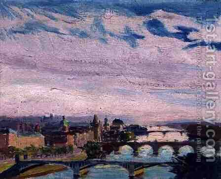 View of Prague from Letna, 1925 by Ignacy Pinkas - Reproduction Oil Painting