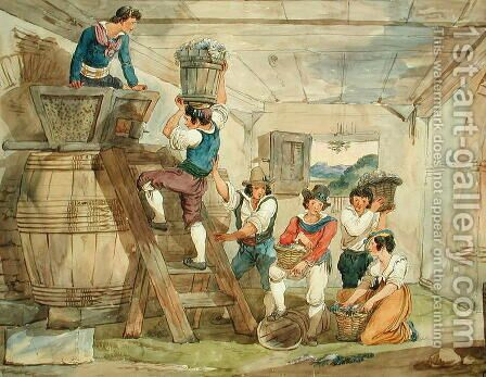 Grape-pickers carrying grapes to the press by Achille Pinelli - Reproduction Oil Painting