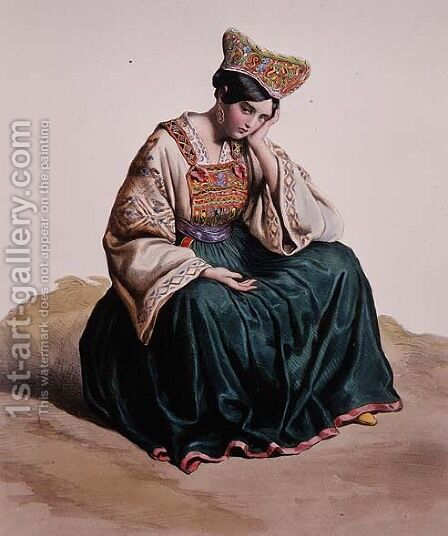 Young girl in Calabrian dress, 1848 by Edouard Pingret - Reproduction Oil Painting