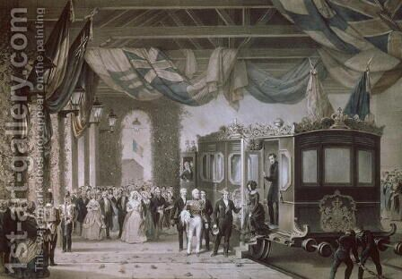 Queen Victoria 1819-1901 and Prince Albert 1819-61 Arriving at Gosport Station, Hampshire, engraved by Bayot and Cuvilier, 1846 by Edouard Pingret - Reproduction Oil Painting