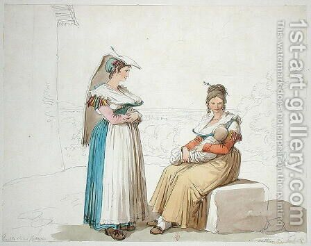 Peasants from Frascati, 1820 by Bartolomeo Pinelli - Reproduction Oil Painting