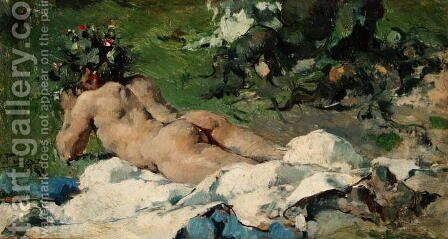 Study of a Nude, 1888 by Ignacio Pinazo Camarlech - Reproduction Oil Painting