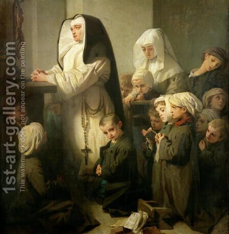 The Prayer of the Children Suffering from Ringworm, 1853 by Isidore Alexandre Augustin Pils - Reproduction Oil Painting