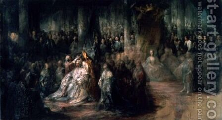 The Coronation of King Gustav III of Sweden 1746-92 by Carl Gustaf Pilo - Reproduction Oil Painting