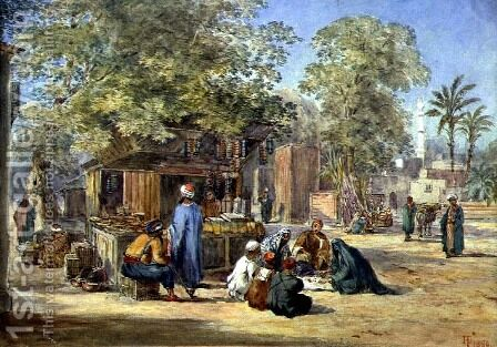 An Egyptian Village, 1869 by Henry Pilleau - Reproduction Oil Painting