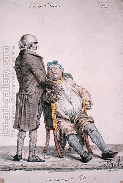 You are not very well,depiction of the rich mans doctor, engraved by Langlume fl.1822-24 1825 by (after) Pigal, Edme Jean - Reproduction Oil Painting