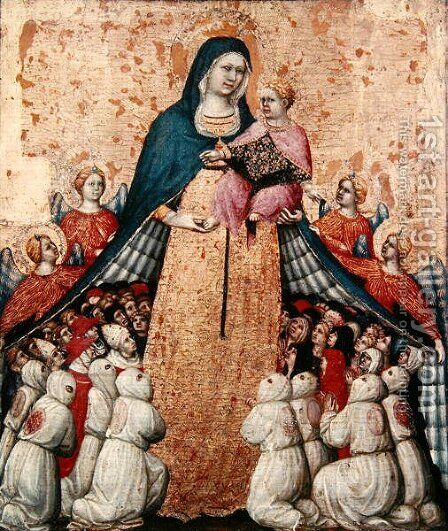 Virgin of the Misericordia by Domenico da Montepulciano Pietro di - Reproduction Oil Painting