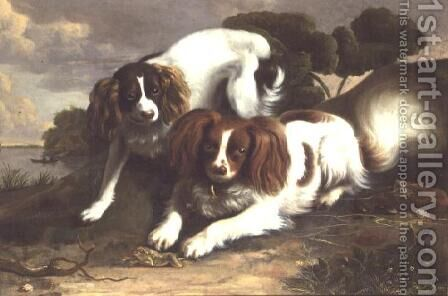 Two King Charles Spaniels Playing with a Frog by Christopher Pierson - Reproduction Oil Painting