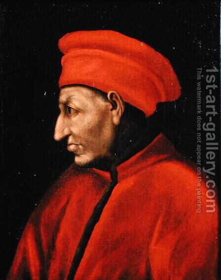 Portrait of Cosimo deMedici II Vecchio 1389-1463 copied from Jacopo Pontormo 1494-1557 painting of 1518 by Alessandro Pieroni - Reproduction Oil Painting