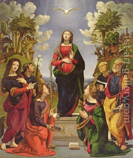 Immaculate Conception and Six Saints by Cosimo Piero di - Reproduction Oil Painting