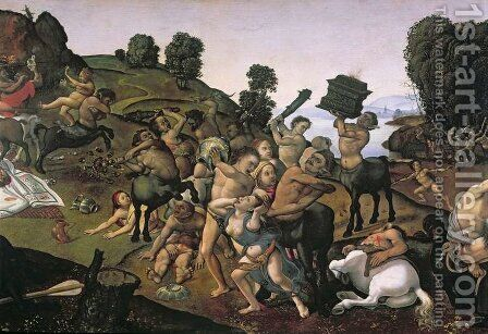 The Fight Between the Lapiths and the Centaurs, detail of Centaurs attacking the Lapiths c.1490s by Cosimo Piero di - Reproduction Oil Painting