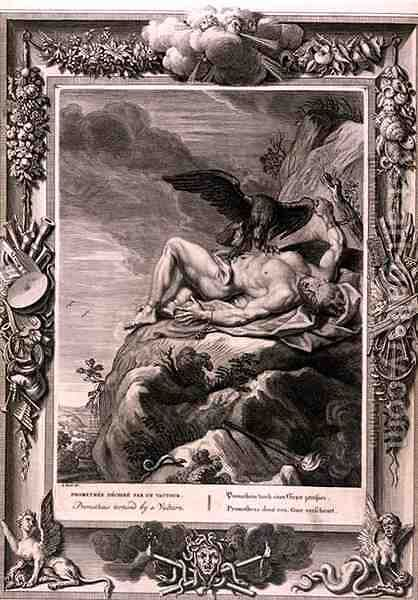 Prometheus Tortured by A vulture, 1731 by Bernard Picart - Reproduction Oil Painting