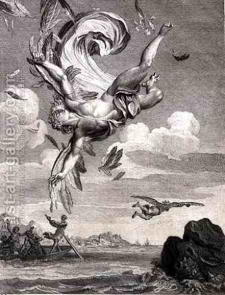 The Fall of Icarus, 1731 by Bernard Picart - Reproduction Oil Painting
