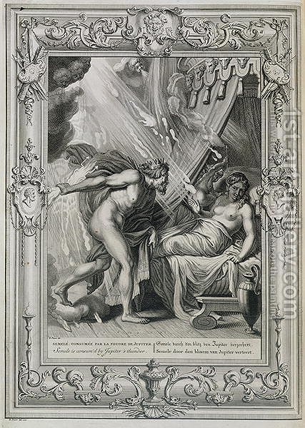 Semele is Consumed by Jupiters Fire, 1731 by Bernard Picart - Reproduction Oil Painting