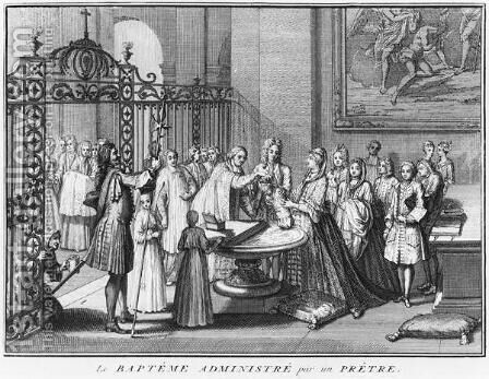 Priest baptising, illustration from Religious Ceremonies and Customs of all the nations of the world, published Amsterdam, 1723 by Bernard Picart - Reproduction Oil Painting