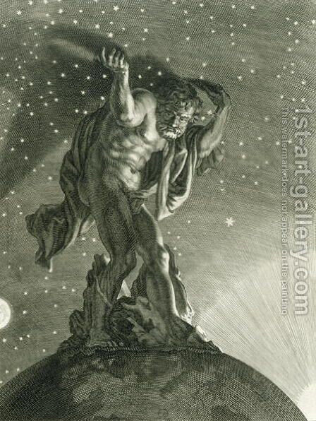 Atlas Supports the Heavens on his Shoulders, 1731 by Bernard Picart - Reproduction Oil Painting