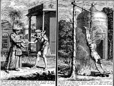 A Brahmin who wears an iron collar to raise funds for a hospital and a Brahmin suspended over a fire in devotion, illustrations from Religious Ceremonies and Customs, c.1724 by (after) Picart, Bernard - Reproduction Oil Painting