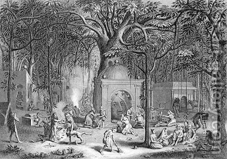 Hindu Fakirs Practising their Superstitious Rites, engraved by Bell, from World Religion, published by A. Fullarton and Co. by (after) Picart - Reproduction Oil Painting