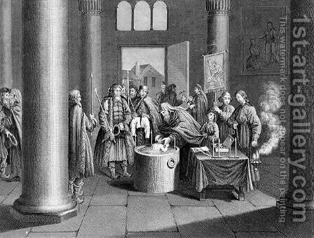 Baptism According to the Greek Church in Russia, engraved by W. Forrest, from World Religion, published by A. Fullarton and Co. by (after) Picart - Reproduction Oil Painting