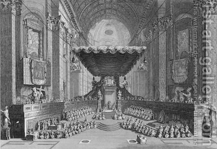 Canonization of Saints in St. Peters Church in Rome, in 1712, engraved by T. Brown, from World Religion, published by A. Fullarton and Co. by (after) Picart - Reproduction Oil Painting