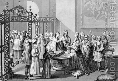 Baptism according to the Church of Rome in the 18th century, engraved by A. Thorn, from World Religion, published by A. Fullarton and Co. by (after) Picart - Reproduction Oil Painting