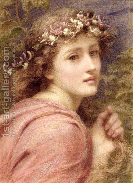With blossoms bare bedecked daintily, Whose tender locks do tremble everie one At everie little breath that under heaven is blowne, 1894 by Constance Phillott - Reproduction Oil Painting