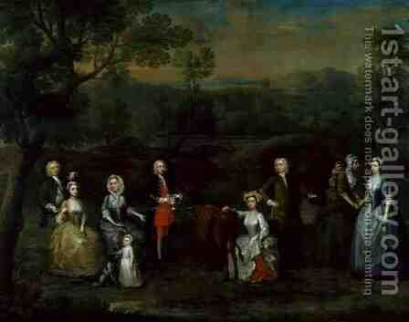 The Russell and Revett Families Syllabub Straight from the Cow, 1740s by Charles Phillips - Reproduction Oil Painting