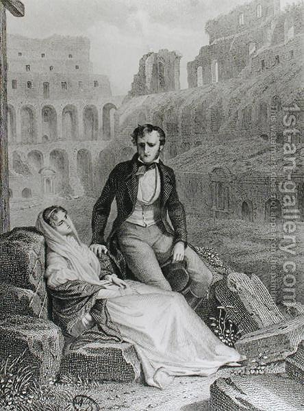 Francois Rene 1768-1848 Vicomte de Chateaubriand and Pauline de Beaumont in the ruins of the Colosseum, illustration from Memoires d'Outre-Tombe by Chateaubriand, engraved by Jean Charles Pardinel 1808-c.1861 by (after) Philippoteaux, Felix - Reproduction Oil Painting