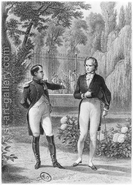 Meeting Between Napoleon I 1769-1821 and Benjamin Constant de Rebecque 1767-1830 from Memoires d'Outre-Tombe by Francois Rene 1768-1848 Viscount of Chateaubriand, engraved by Jean Charles Pardinel 1808-71 by (after) Philippoteaux, Felix - Reproduction Oil Painting