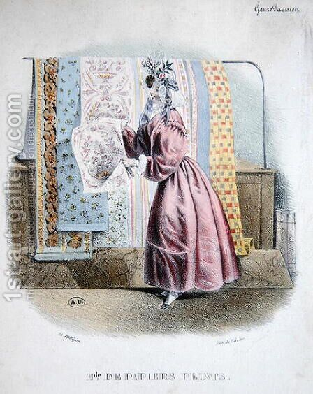 Wallpaper Seller, c.1840 by Charles Philipon - Reproduction Oil Painting