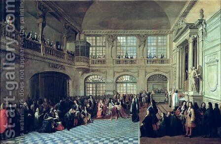Philippe de Courcillon 1638-1720 Marquis of Dangeau pledging his oath to King Louis XIV 1638-1715 in 1695, late 17th century by Antoine Pezey - Reproduction Oil Painting