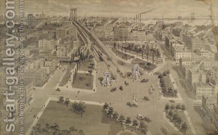 Brooklyn Plaza of the Manhattan Bridge, c.1917 by Harry M. Pettit - Reproduction Oil Painting